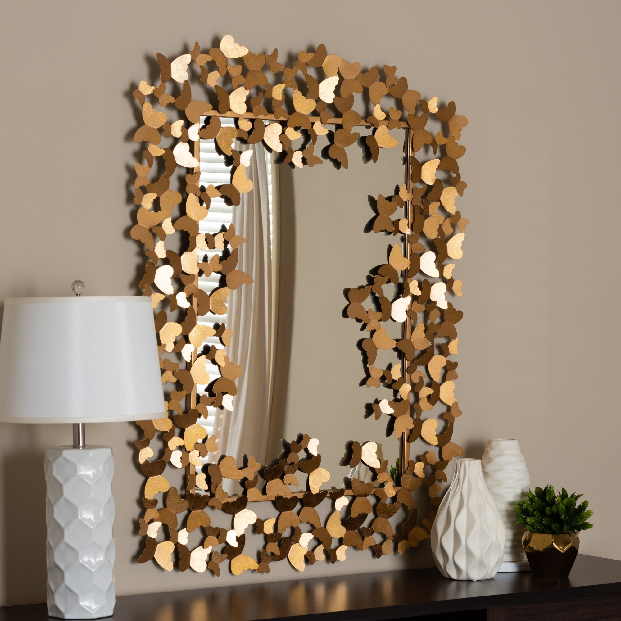Shop Contemporary Antique Gold Butterfly Wall Mirror By Baxton Studio Antique Gold On Sale Overstock 24080241