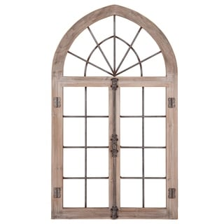 Patton Wall Decor Distressed Gray Arched Cathedral Window Frame Wall Decor
