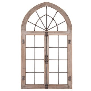 Patton Wall Decor Distressed Gray Arched Cathedral Window Frame Wall Décor - Grey