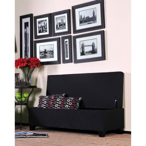 Handy Living Black Microfiber Bench Wall Hugger Storage Ottoman