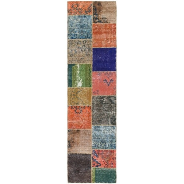 Hand Knotted Ultra Vintage Wool Runner Rug - Multi - 2' 7 x 10'