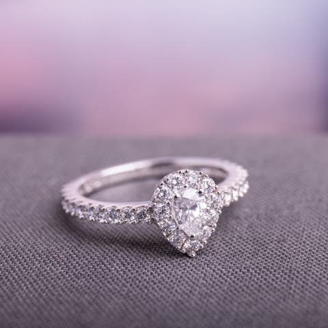 1ct TDW Diamond Teardrop Halo Engagement Ring in 14k White Gold by Miadora