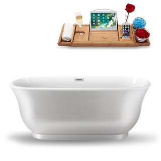 "59"" Streamline N-664-59PRWH-FM  Freestanding Tub and Tray With Internal Drain"