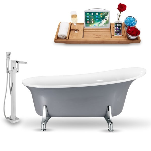 "Tub, Faucet and Tray Set Streamline 70"" Clawfoot NH1101CH-100"