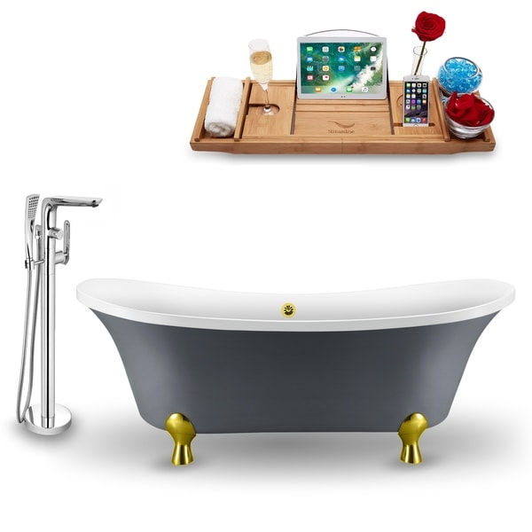 """Tub, Faucet and Tray Set Streamline 68"""" Clawfoot NH921GLD-GLD-120"""
