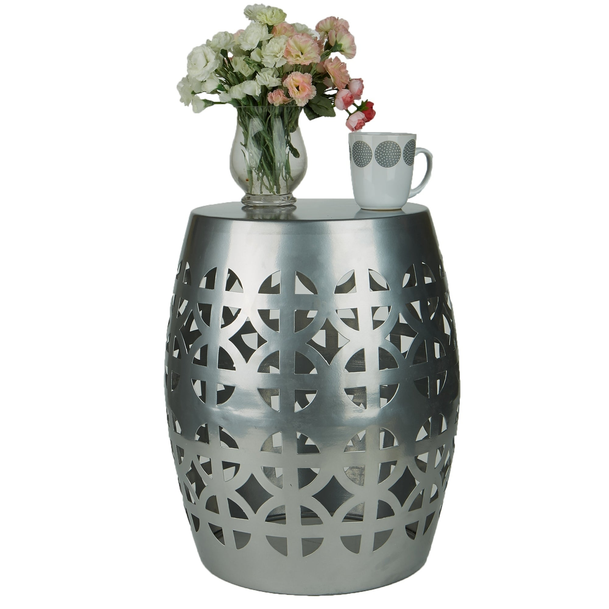 Amazing Mind Reader Round Silvertone Iron Decorative Accent Indoor Outdoor Garden Stool End Table Pdpeps Interior Chair Design Pdpepsorg