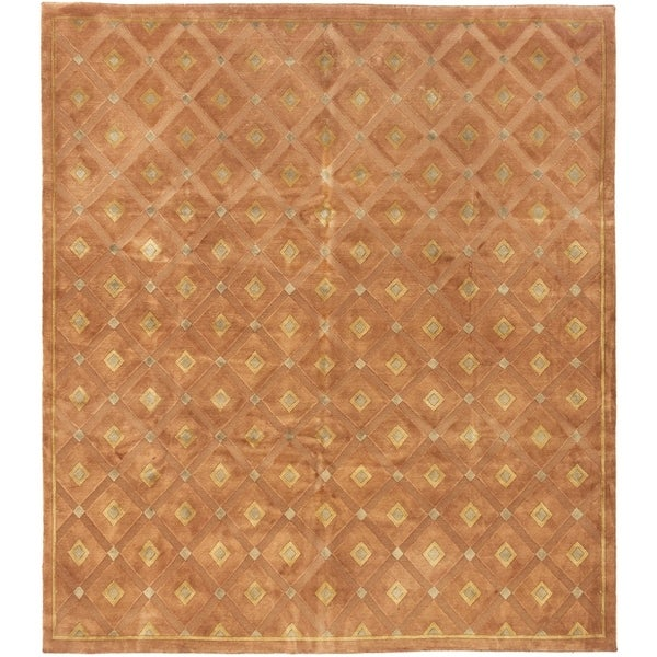 ECARPETGALLERY Hand-knotted Luribaft Gabbeh Riz Brown Wool Rug - 7'10 x 9'0