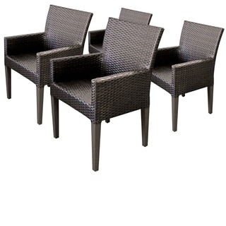 TK Classics Barbados Resin Wicker All-weather Dining Chairs with Arms (Set of 4)