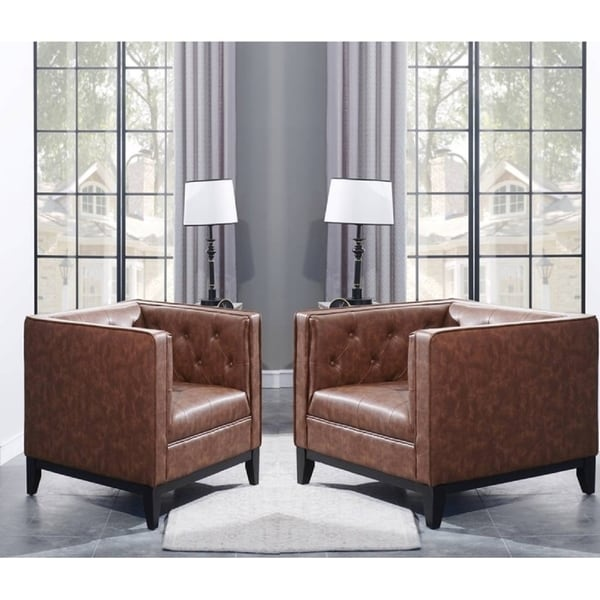 Brown Tufted Faux Leather Living Room Armchair Set of 2