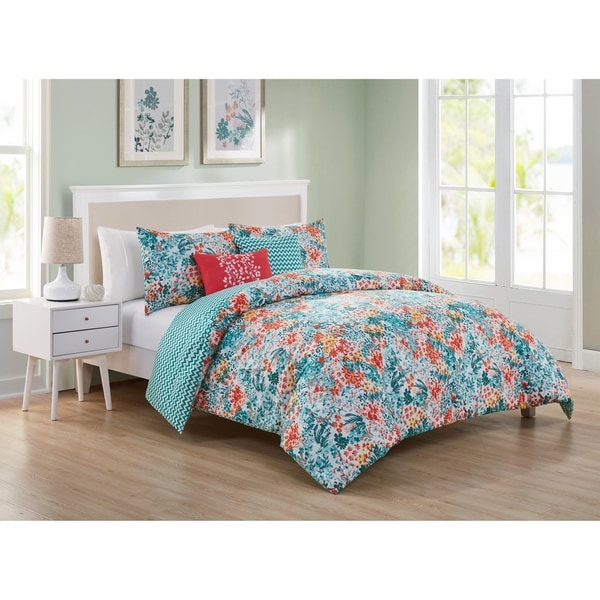 Porch & Den Holmes Reversible Floral Chevron Duvet Cover Set