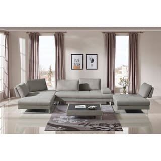 Divani Casa Baxter Modern Gray Fabric Sectional Sofa and Coffee Table Set