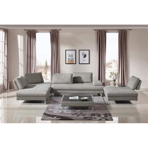 Divani Casa Baxter Modern Gray Fabric Sectional Sofa and Coffee Table Set