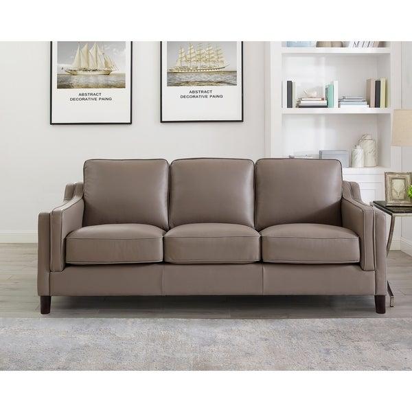 Rafael Taupe Top Grain Leather Sofa