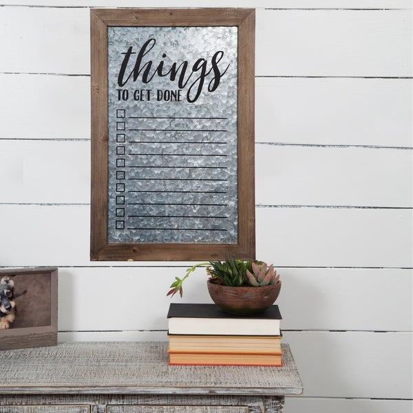 Rustic Galvanized Metal To Do List Wall Mount Whiteboard
