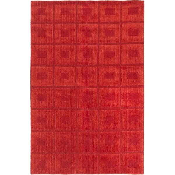 ECARPETGALLERY Hand-knotted Luribaft Gabbeh Riz Dark Red, Wool Rug - 5'1 x 7'9