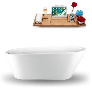 65 Streamline N-1521-65FSWH-FM  Freestanding Tub and Tray With Internal Drain