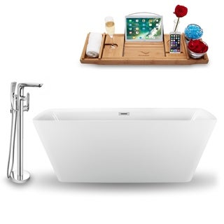 """Tub, Faucet and Tray Set Streamline 59"""" Freestanding NH1261-120"""
