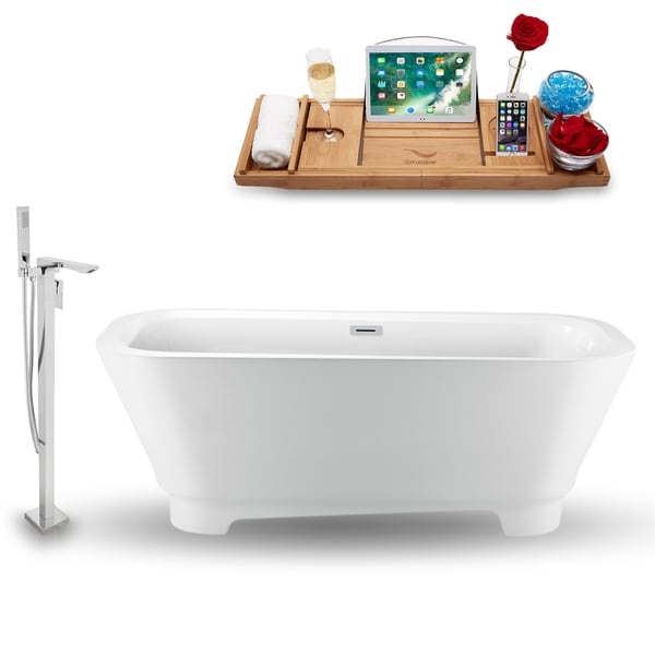 """Tub, Faucet and Tray Set Streamline 70"""" Freestanding NH1460-140"""