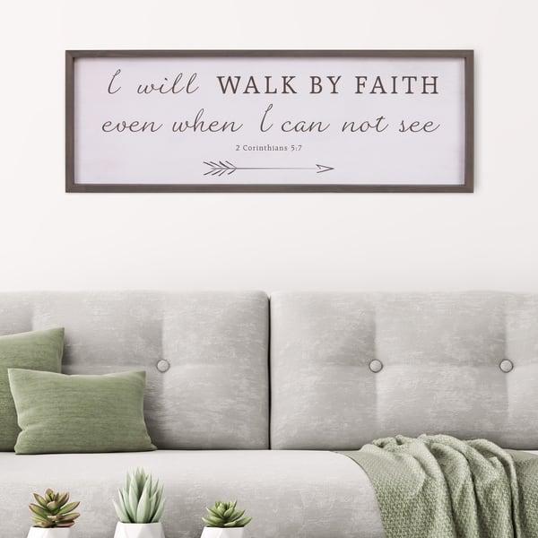 Patton Wall Decor Walk By Faith Bible Verse Rustic Wood Framed Wall Art Decor 12x36 White