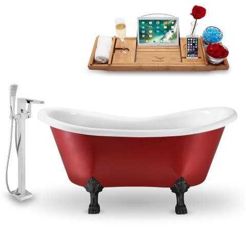 """Tub, Faucet and Tray Set Streamline 62"""" Clawfoot NH1021BL-100"""
