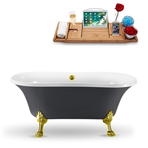 """60"""" Streamline N860GLD-GLD Clawfoot Tub and Tray With External Drain"""