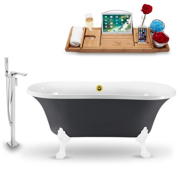 """Tub, Faucet and Tray Set Streamline 60"""" Clawfoot NH860WH-GLD-140"""