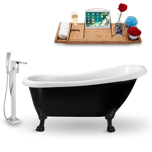 """Tub, Faucet and Tray Set Streamline 61"""" Clawfoot NH481BL-100"""
