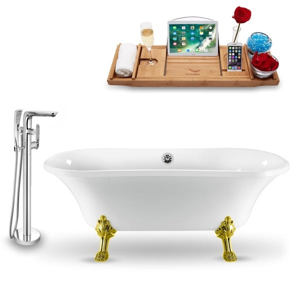 """Tub, Faucet and Tray Set Streamline 68"""" Clawfoot NH901GLD-CH-120"""