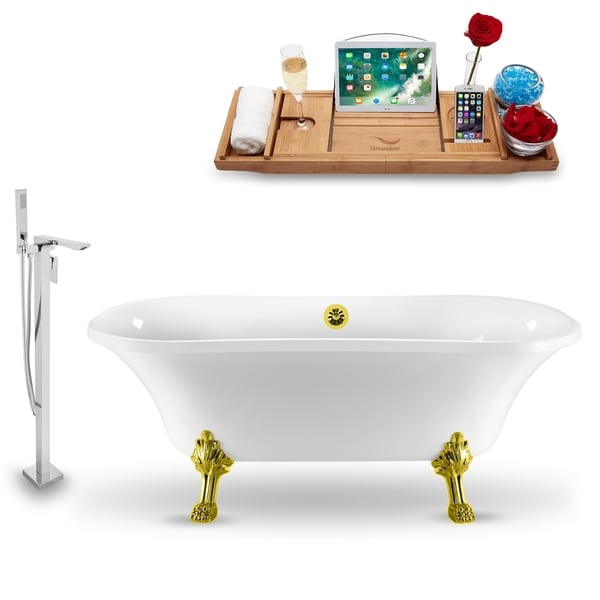 """Tub, Faucet and Tray Set Streamline 68"""" Clawfoot NH901GLD-GLD-140"""