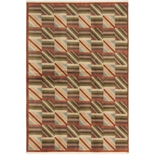 ECARPETGALLERY Hand-knotted Aurora Beige, Brown Wool Rug - 5'8 x 8'0