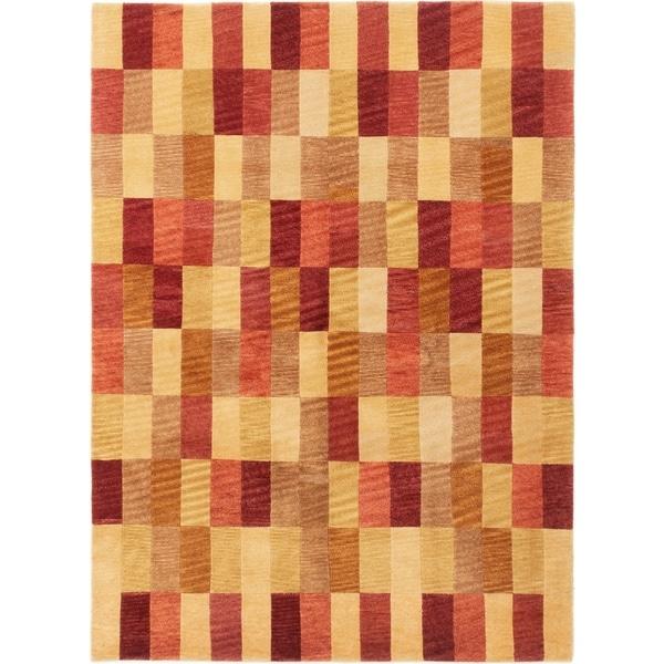 ECARPETGALLERY Hand-knotted Aurora Dark Copper Wool Rug - 5'8 x 7'9