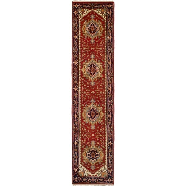 ECARPETGALLERY Hand-knotted Serapi Heritage Red Wool Rug - 2'6 x 11'10