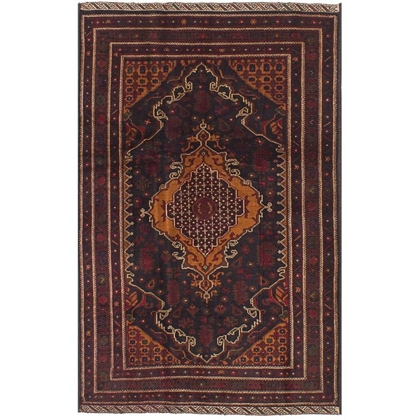 ECARPETGALLERY Hand-knotted Royal Baluch Black, Brown Wool Rug - 4'0 x 6'6