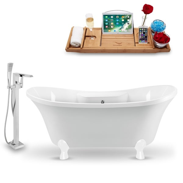 """Tub, Faucet and Tray Set Streamline 60"""" Clawfoot NH900WH-CH-100"""