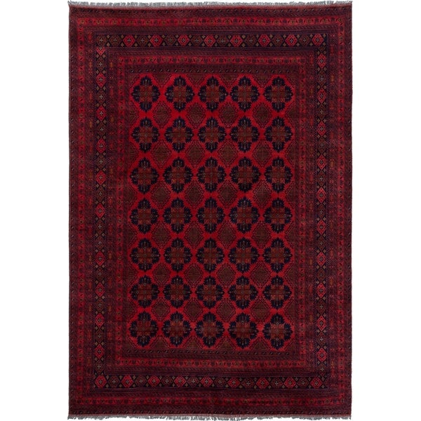 ECARPETGALLERY Hand-knotted Finest Khal Mohammadi Red Wool Rug - 6'11 x 9'6