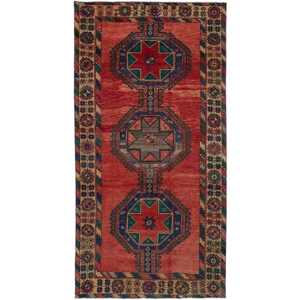 ECARPETGALLERY Hand-knotted Antique Shiravan Red Wool Rug - 5'1 x 10'4
