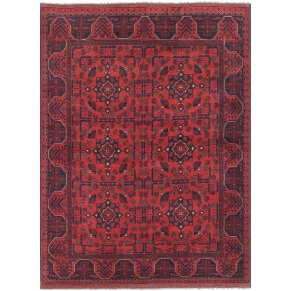 ECARPETGALLERY Hand-knotted Finest Khal Mohammadi Dark Red Wool Rug - 4'10 x 6'8
