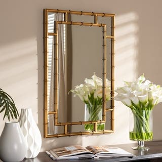 Contemporary Gold Bamboo Style Wall Mirror by Baxton Studio - Antique Gold