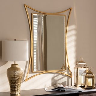 Contemporary Antique Gold Rectangular Wall Mirror by Baxton Studio - Antique Gold