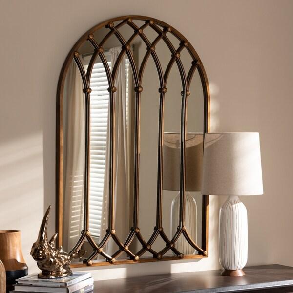 Vintage Antique Bronze Arched Window Wall Mirror by Baxton Studio - Antique Bronze