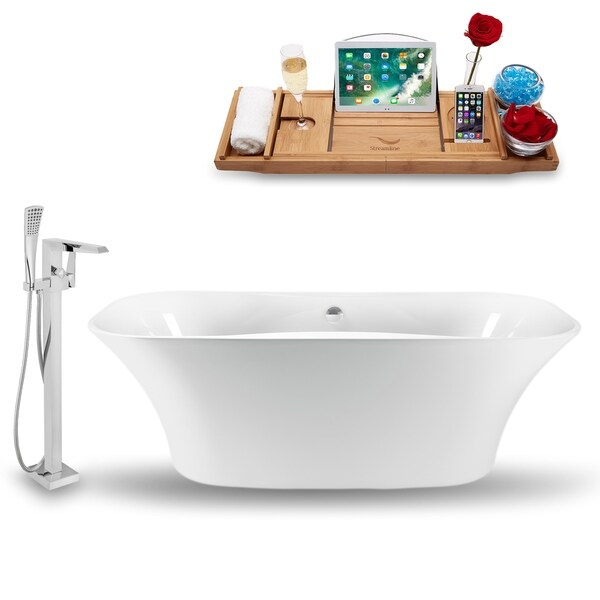 Streamline Nh1060 100 Glossy White Acrylic 59 Inch Freestanding Tub Faucet And
