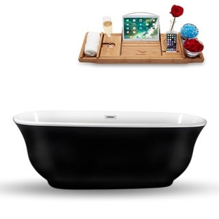 "70"" Streamline N-663-67FSBL-FM Freestanding Tub and Tray With Internal Drain"