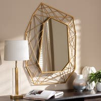 Contemporary Antique Gold Geometric Wall Mirror by Baxton Studio - Antique Gold