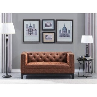 Cadman 2-Seat brown Faux Leather Loveseat