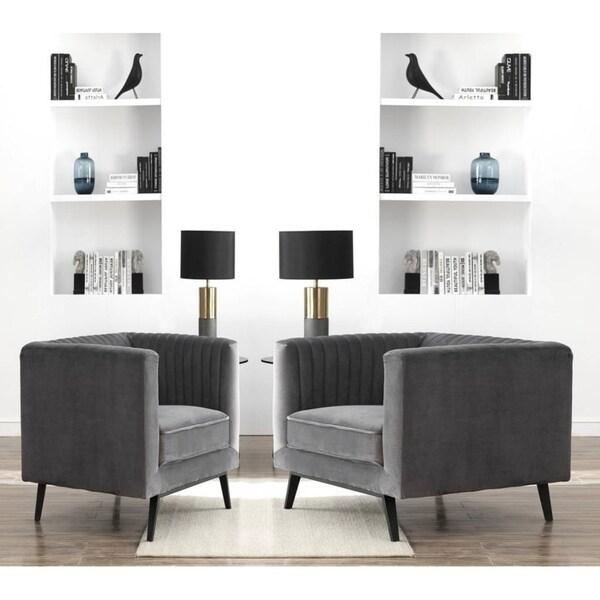 Shop vandam channel back velvet upholstered living room - Upholstered living room chairs sale ...