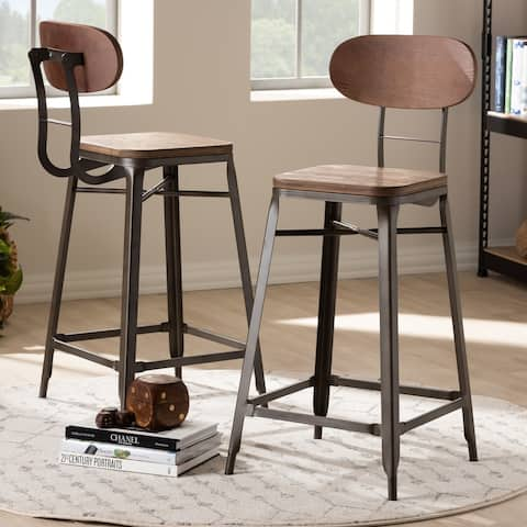 Industrial Stackable Counter Stool 2-Piece Set by Baxton Studio