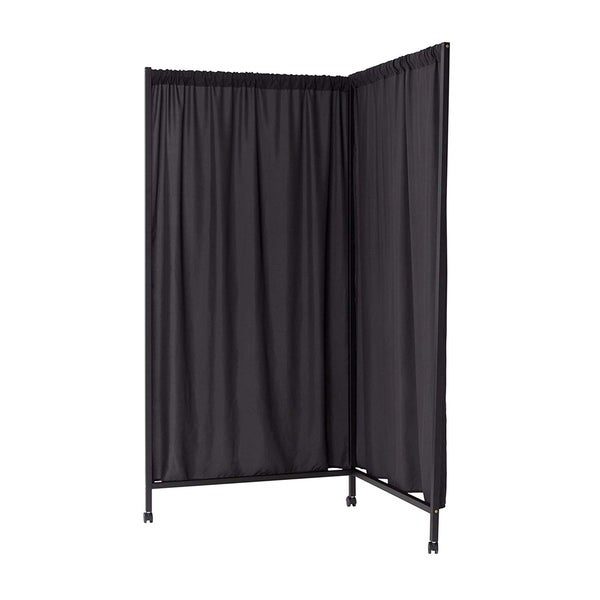 Don't Look At Me - L-Shaped Room Divider - Black Frame with Black Fabric