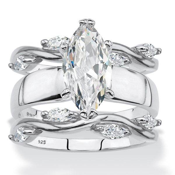 674966975 Sterling Silver Marquise Cut Cubic Zirconia Bridal Ring 3 Piece Set - White