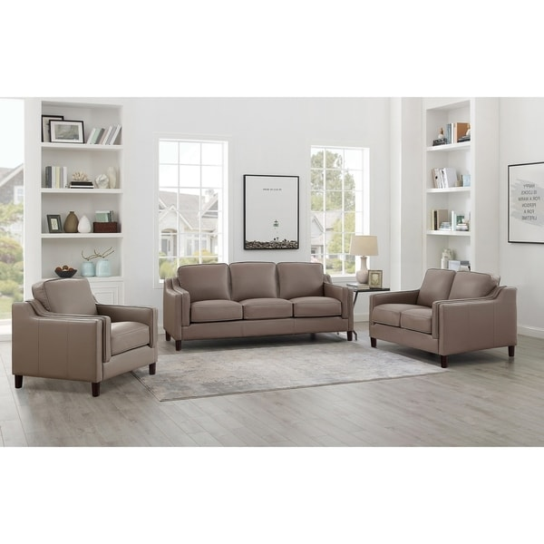 Shop Rafael Taupe Top Grain Leather Sofa Loveseat And Chair Set