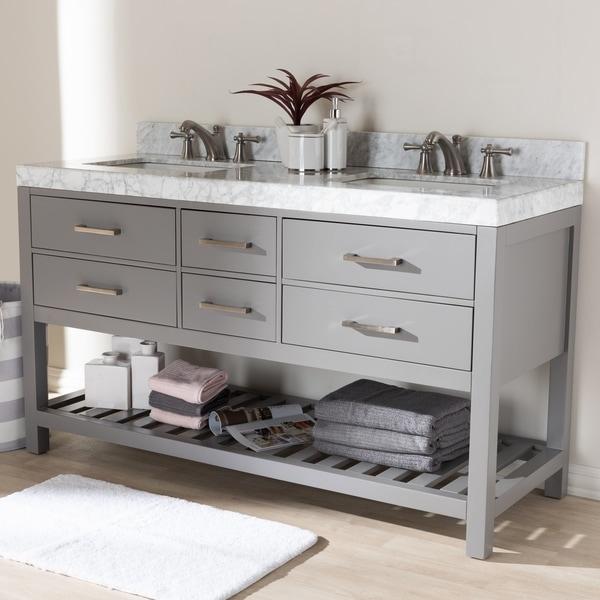 Shop 60-Inch Double Sink Bathroom Vanity by Baxton Studio ...